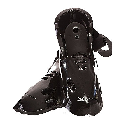 whistlekick Karate Sparring Foot Gear Set with Backpack, Adult Medium - Stealth (Black)