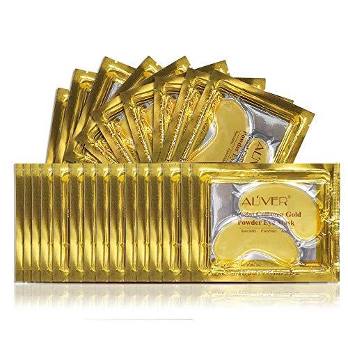 (25 Paar) Kollagen Augenmaske 24K Gold Pulver Gel, Kollagen Augenpads - Die Feuchtigkeit spendende Anti Falten Augenmaske gegen Augenringe & Fältchen Anti Aging