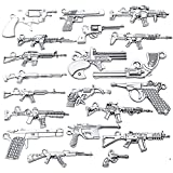 20pcs Antique Silver Plated Mixed Pistol Revolver Submachine Gun Charms Alloy Weapon Charms Pendants DIY for Necklace Bracelet Jewelry Making Accessory