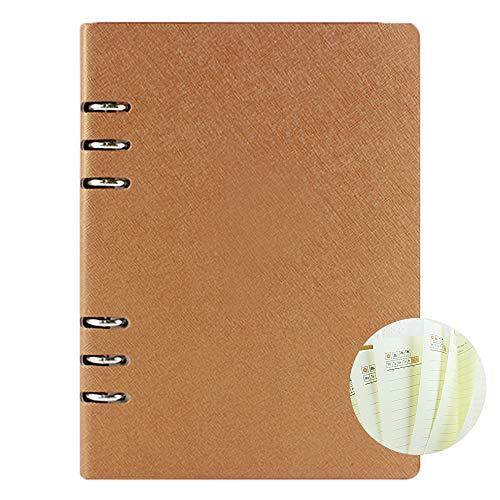 Cuaderno A5 con regla para cuaderno ejecutivo origaniser recargable planificador redondo carpeta de anillo cubierta de cuero bloc de notas
