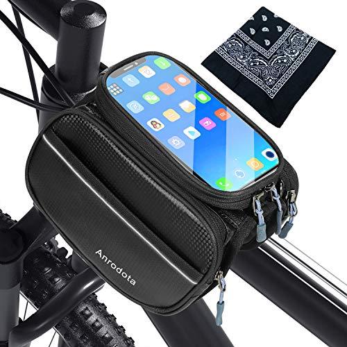 Wasserfeste Handyhalterung fürs Fahrrad - Fahrrad Rahmentasche Wasserdicht Stabile Touch Screen Telefonhalterung für Handy und Smartphone 6,3 Zoll mit 1 Schal