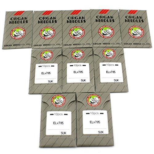 100 Organ ELX705-SUK Ball Point Flat Shank Portable Serger Coverstitch Needles