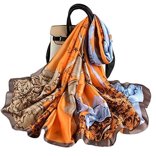 LumiSyne Sciarpa Di Seta Donna Modello Di Dipinti Vintage Girasole Floreale Stile Etnico Sciarpa Lunga Grande Scialle Abito Da Spiaggia Protezione Solare Stole Per Tutte Le Stagioni
