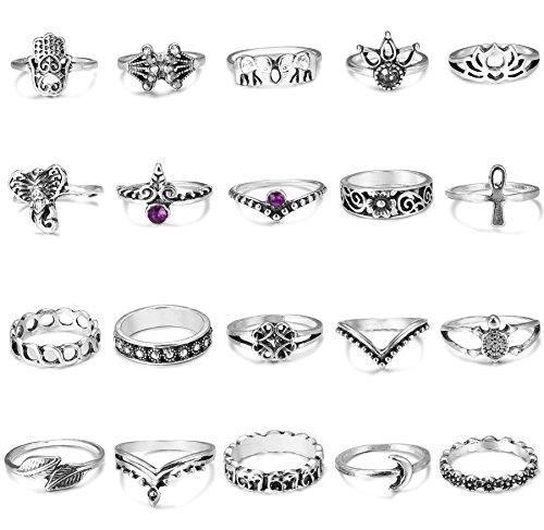 FIBO STEEL 20 Pcs Vintage Knuckle Rings for Women Stackable Midi Finger Ring Set