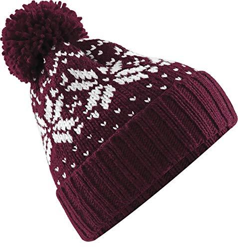 Neverless® Strickmütze Damen Norweger Mütze Wintermütze Bommelmütze Bordeauxrot Unisize