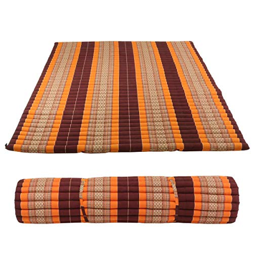 Oriental Galerie Kapok Yogamatte groß Liegematte Rollmatte Rollmatratze Thaimatte Yoga Matte Liege Kapokmatte Baumwolle ca. 200x160 cm Weinrot Orange