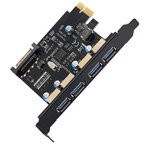 BEYIMEI USB3.0 4-Port-Erweiterungskarte, PCI-E zu USB 3.0 Type-A-Erweiterungskarte mit 15-poligem SATA-Stromanschluss (enthalten SATA-Kabel), geeignet für Windows XP/Vista / 7/8/10 / Linux