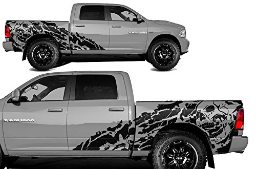 Factory Crafts Nightmare Side Graphics Kit 3M Vinyl Decal Wrap Compatible with Dodge Ram 5.7 Bed 2009-2018 - Matte Black