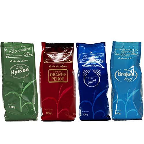 Organisch Portugiesisch Azoren Tee GORREANA 4 Taschen - 1 Grün Hysson + 1 Schwarz Broken Leaf + 1 Schwarz Pekoe + 1 Schwarz Orange Pekoe
