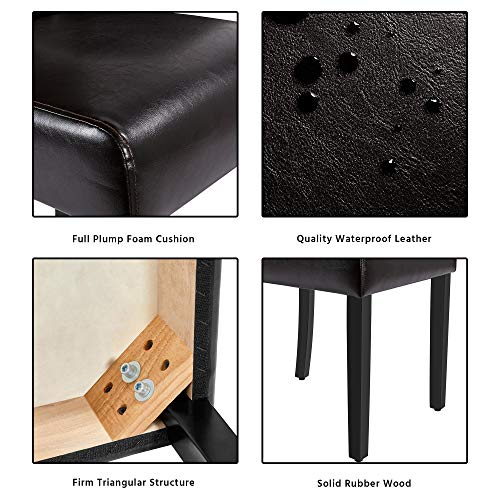 Yaheetech Dining Chairs with Waterproof leather Surface and Rubber Wood Legs Modern Style Tufted for Kitchen Living Room Bedroom lounge, Set of 2, Brown