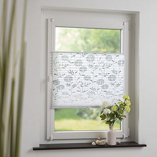 DECOLIA Klemmfix-Plissee verspannt, ohne Bohren oder Schrauben mit ausgebranntem Blumenmotiv, Breite/Höhe: 120 x 130 cm, Farbe: weiß