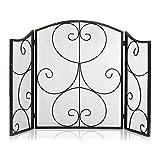 Puertas para Chimeneas Pantalla de chimenea de trabajo pesado de 3 paneles con rayas decorativas en forma de rollo Cubierta de protección contra chispas, diseño retro Pantalla de chimenea de diseño si