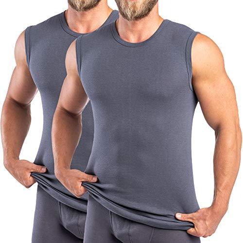 HERMKO 16040 2er Pack Herren Muskelshirts mit Rundhals, Unterhemd mit Modal, Größe:D 10 = EU 4XL, Farbe:Graphit