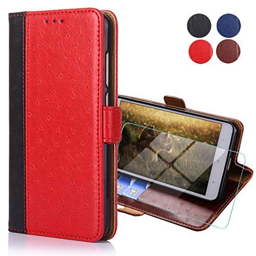 WenJie Para Ulefone P6000 Plus(6') Vidrio Templado + Funda para Estuche de Cuero Moda con Ranura para Tarjeta de Crédito de Identificación, Funda para Teléfono con Billetera Anticaída—Rojo