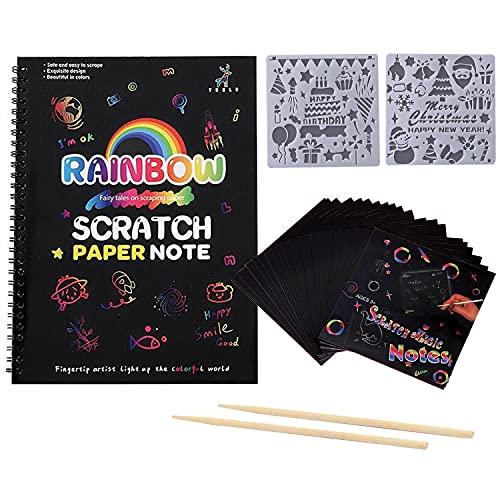 Georgie Porgy - Set di quaderni di carta da graffio, kit fai da te per bambini, motivo arcobaleno magico, con pennino in legno e stencil
