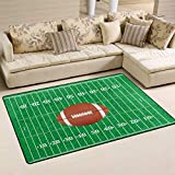 Linomo Area Rug American Football Field Floor Rugs Doormat Living Room Home Decor, Carpets Area Mats for Kids Boys Girls Bedroom 31 x 20 Inches