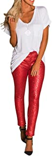 Symina Frauen Shiny Leggings Hosen Sparkle Pailletten Stretch Lange Hose Jogger Hosen Weihnachtsfeier