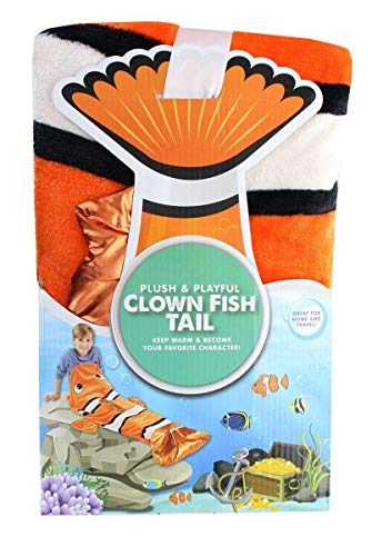 Jay Franco & Sons Plush & Playful 55-Inch Clown Fish Tail Blanket