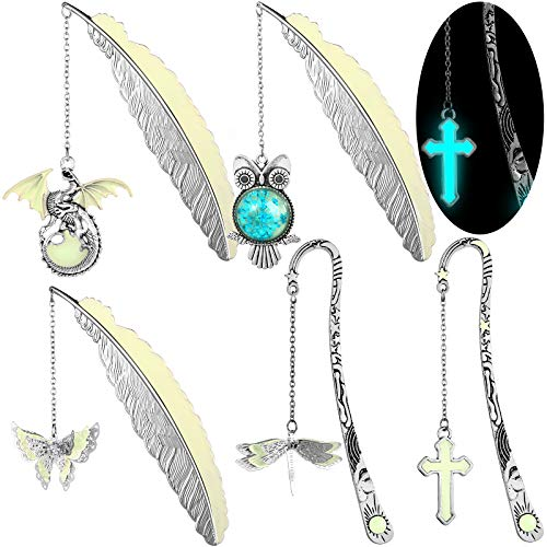 Spiareal 5 Pieces Metal Luminous Bookmarks Feather Glowing Bookmarks Vintage Pendant Bookmark with Owl, Dragonfly, Butterfly, Dragon, Cross Retro Luminous Reading Page Marker for Reader Book Lover