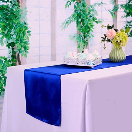 HTFD 12 x 108 inches 20pcs Royal Blue Satin Table Runner for Wedding Table Runners fit Rectange product image