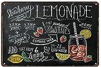 ヴィンテージメタルティンサインインチ、レモネードレシピ、バークラブカフェファームの家の装飾アートポスターに適しています
