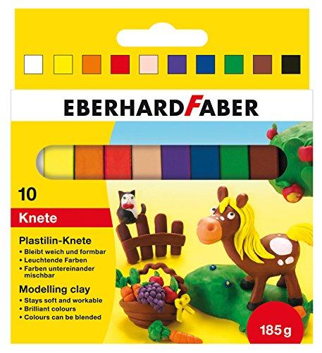 Eberhard Faber 572011 - Plastilin Knete im 10-er Kartonetui, Mehrfarbig