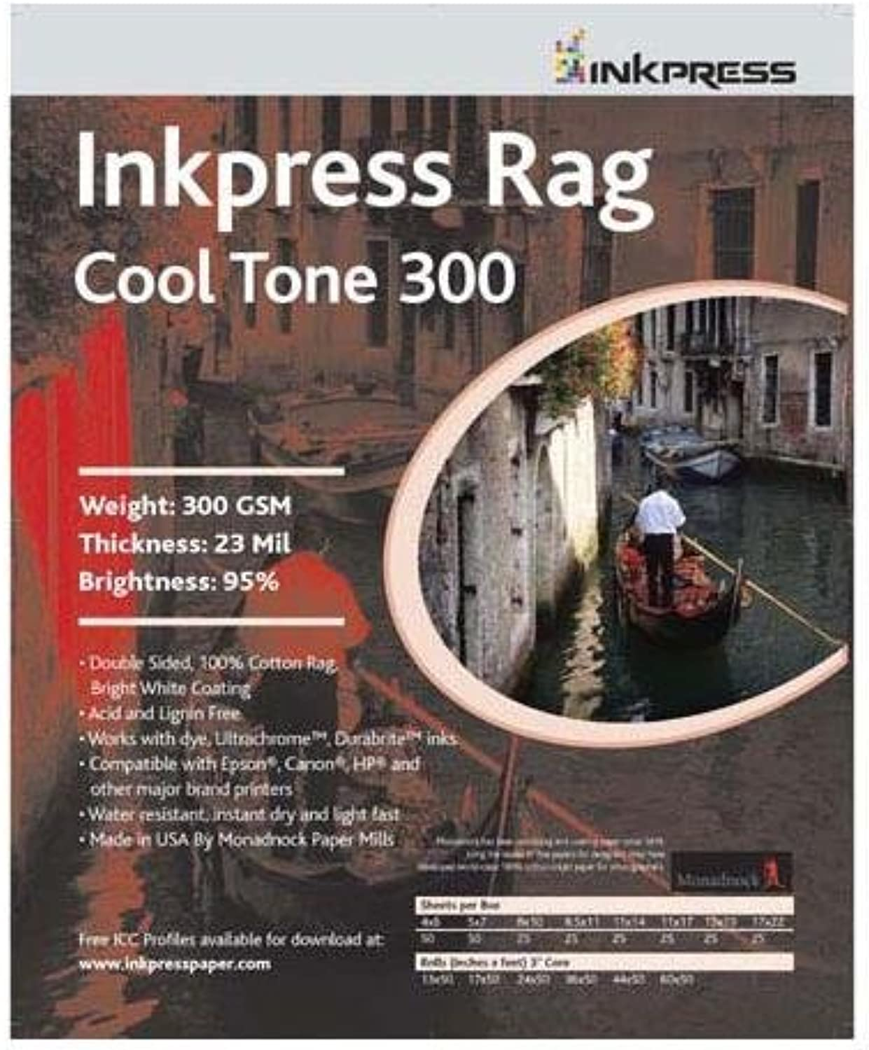 Inkpress Rag, Cool Tone Double Sided, Bright White Matte Inkjet Paper, 24 mil., 300gsm, 13x19 , 25 Sheets
