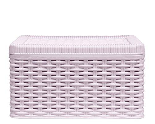 DEA-home Ondis24 Aufbewahrungsbox Lagerbox Allzweckbox Rattan Optik Stapelbox Decora (S, rosa)