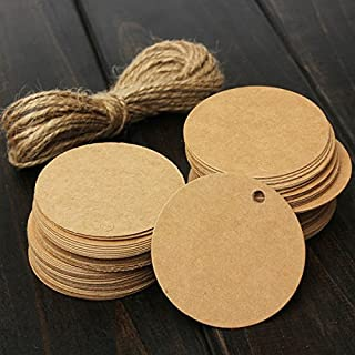 Teensery 100 Pcs Round Shape Blank Cards Kraft Paper Tags Label Price Tag Wedding Party Name Card Gift Tags Kraft Hanging Tag With String (brown)