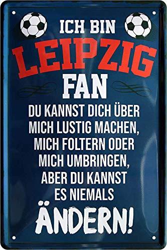Blechschilder ICH BIN Leipzig Fan Metallschild für Fußball Begeisterte DEKO Artikel Schild Geschenkidee 20x30 cm