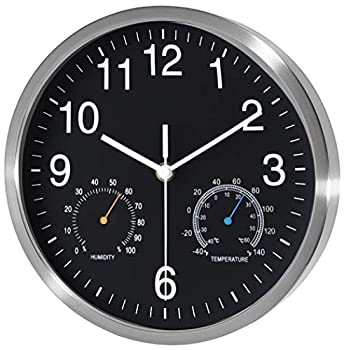 Fzy.bstim Non Ticking Silent Wall Clocks Battery Operated,10 Inch Quality Quartz Analog Wall Clock with Thermometer and Hygrometer,Decorative for Kitchen,Living Room,Bathroom,Office,Garage Black