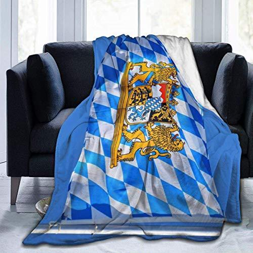 XXUU Bavaria Bayerische Flagge Fleece Decke werfen leichte Decke Super weiches gemütliches Bett warme Decke für Wohnzimmer/Schlafzimmer die ganze Saison