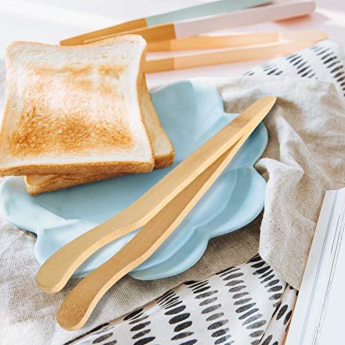 Lot de 8 pinces à grille-pain 18 cm en bambou Hysagtek pour la cuisson du pain et de la viande, le service du thé, cornichons