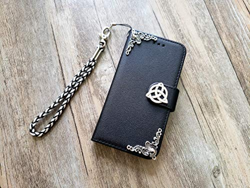 Trinity Celtic Knot Removable Handmade Phone Leather Wallet Case for iPhone 8 7 6 6s X Xs Xr 11 Pro Max Samsung Galaxy S8 S9 S10 Note 8 9 10 Plus Mn1261