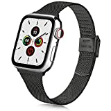 Oumida Compatible con Apple Watch Correa de 38 mm, 42 mm, 40 mm, 44 mm, acero inoxidable con hebilla de metal para iWatch Series 6/5/4/3/2/1 (38 mm/40 mm, Negro)