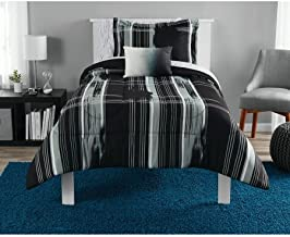 Modern Plaid Black Bed in a Bag Bedding Set, Queen