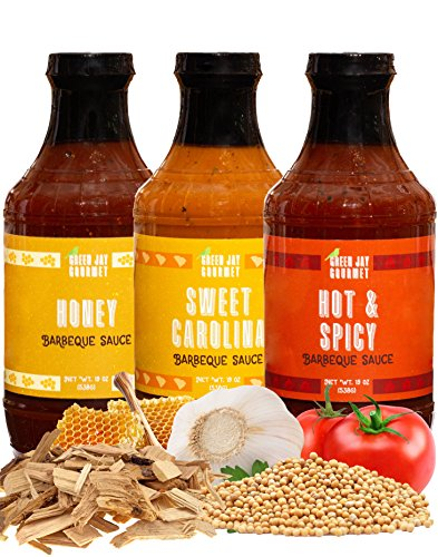 Green Jay Gourmet BBQ Sauce - Classic Sampler - Honey, Sweet Carolina, Hot & Spicy Barbecue Sauce - All-Natural BBQ Sauce for Meats, Veggies & Other Foods - 19 Ounces, Pack of 3