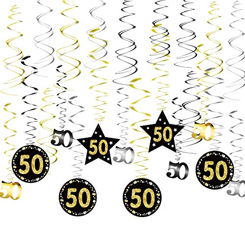 SEELOK 24pcs Remolinos Colgantes Cumpleaños 50 años Adornos de Espirales Banner Happy Birthday Guirnalda de Feliz Cumpleaños Serpentinas Fiesta para Cumpleaño Bodas Aniversario