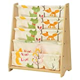 Songmics GKR71YL - Scaffale a 4 Livelli in Tessuto per Bambini, Finitura Acero, Multicolore, 62 x 28 x 72 cm