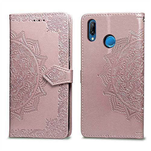 Bear Village Hülle für Huawei P Smart Plus 2018 / Nova 3I, PU Lederhülle Handyhülle für Huawei P Smart Plus 2018 / Nova 3I, Brieftasche Kratzfestes Magnet Handytasche mit Kartenfach, Roségold