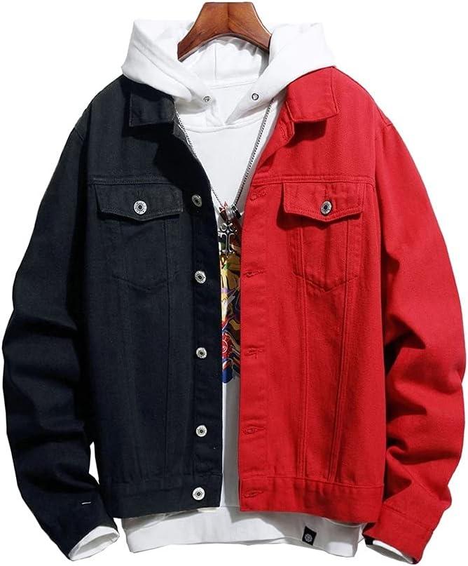 LSDJGDDE Men's Black Red Spliced Denim Jacket Streetwear Loose Jean Coat Patchwork Top Outerwear (Color : Multi-Colored, Size : XL)