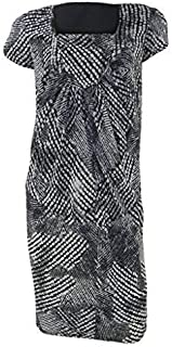 632d6178a4d3a1 Marks and Spencer Per UNA Monochrome Black & Grey Print Tulip Dress Short  Sleeve