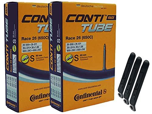 Continental 18-25/559-571 S60 RACE 26 - Cámara de aire para bicicleta (2 unidades, 26', incluye 3 desmontadores de neumáticos)