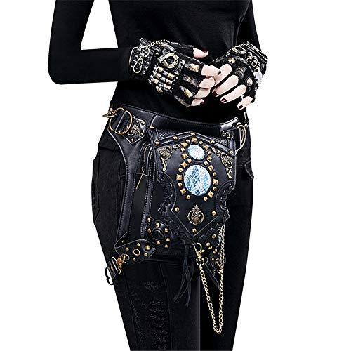 Gothic Vintage Steampunk Tasche Damen Leder Gürteltasche Multifunktion Hüfttasche Rucksäcke Handtasche Beintasche Hip Bag