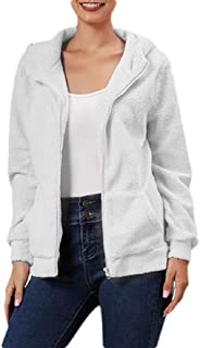 Macondoo Women's Long Sleeve Fleece Solid Zip Coat Sherpa Hoodies Jacket