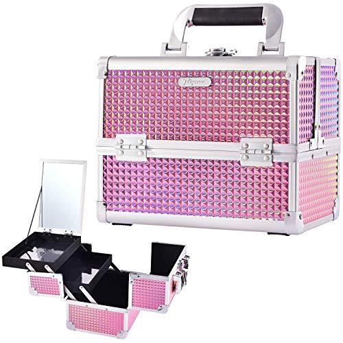 Kosmetikkoffer Beautycase mit Spiegel Leer Hartschale ALU Schminkkoffer Multikoffer Friseurkoffer Schmuckkoffer mit Schloss, glänzend Pink