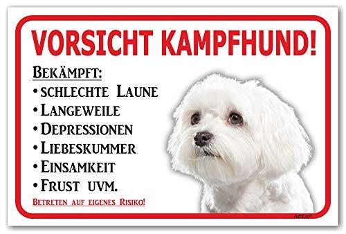 AdriLeo Schild - Vorsicht Malteser - Kampfhund - (20x30cm) / Achtung Hund Wachhund