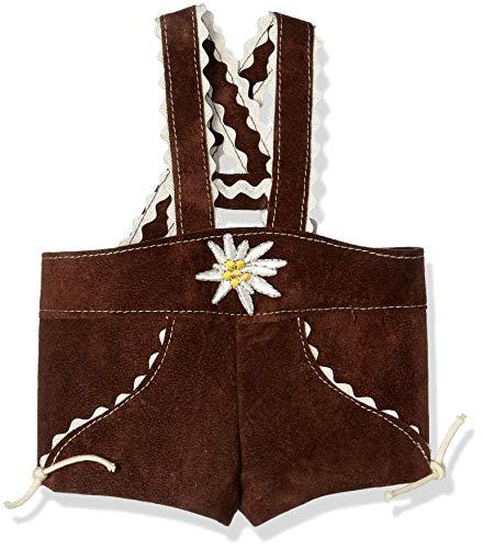 Puppenmode Sturm 8882-T20 Lederhose mit Trägern für Teddys, Braun