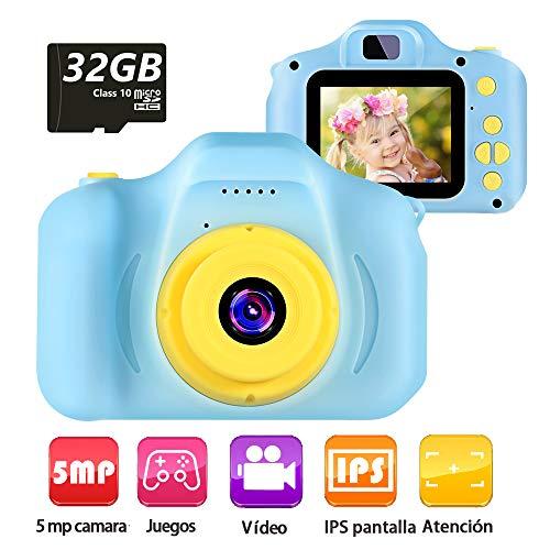 vatenick Cámara para Niños Juguete para Niños Cámara Digital para Niños pequeños 2 Inch HD Pantalla 1080P with Calidad 32GB TF Tarjeta Regalos Juguete para 3 a 12 años Niños y niñas… (azui)