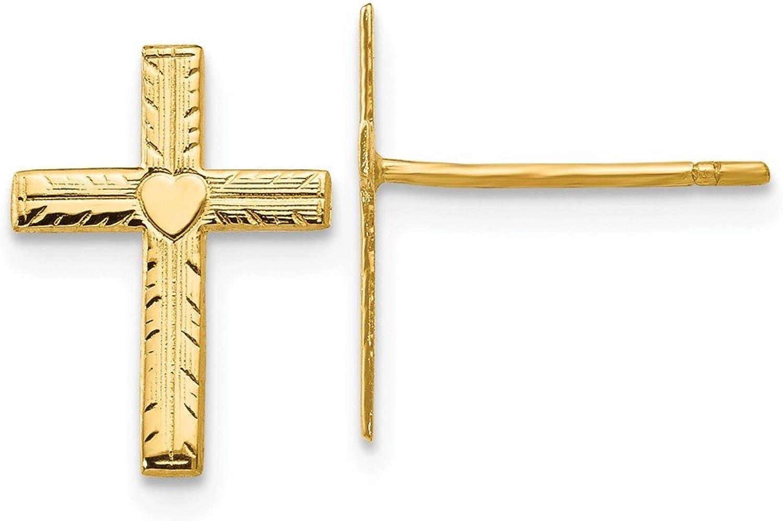 Beautiful Yellow gold 14K Yellowgold 14k Polished & Satin Heart Cross Earrings